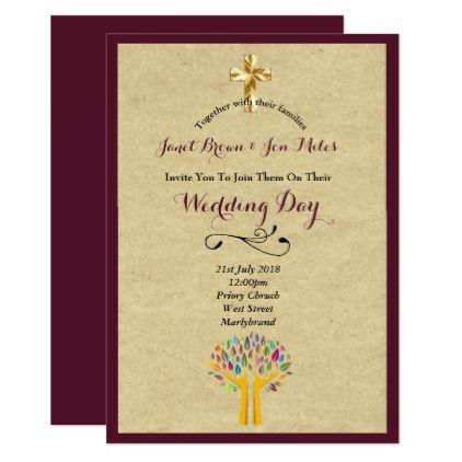 Catholic Wedding Invitation Burgundy Tree Of Life