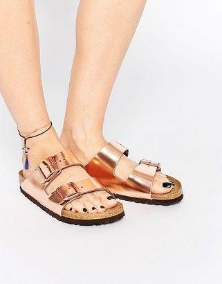 d627d934a Birkenstock Arizona Metallic Copper Narrow Fit Flat Sandals ...