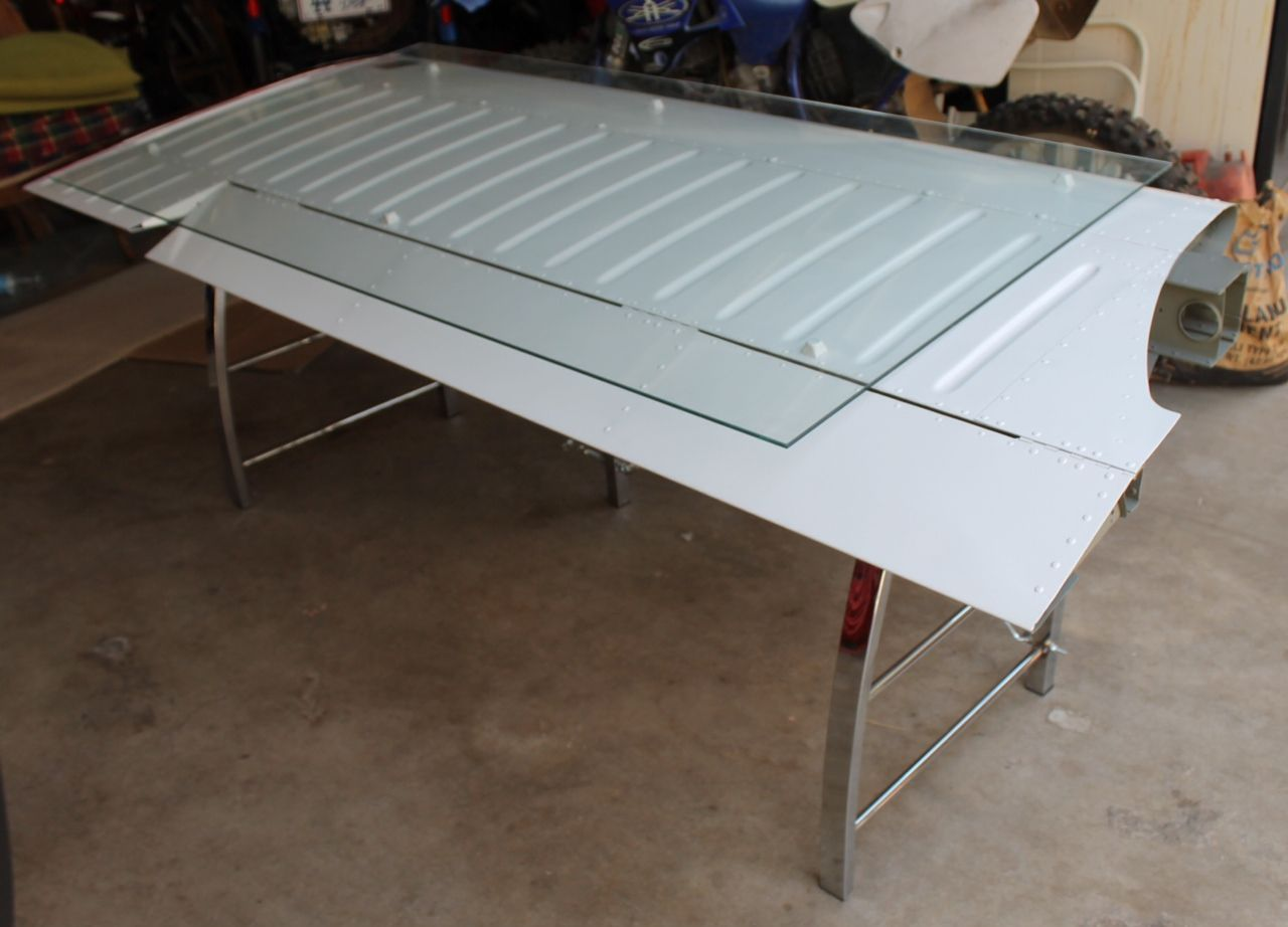 Desk made from an airplane wing!