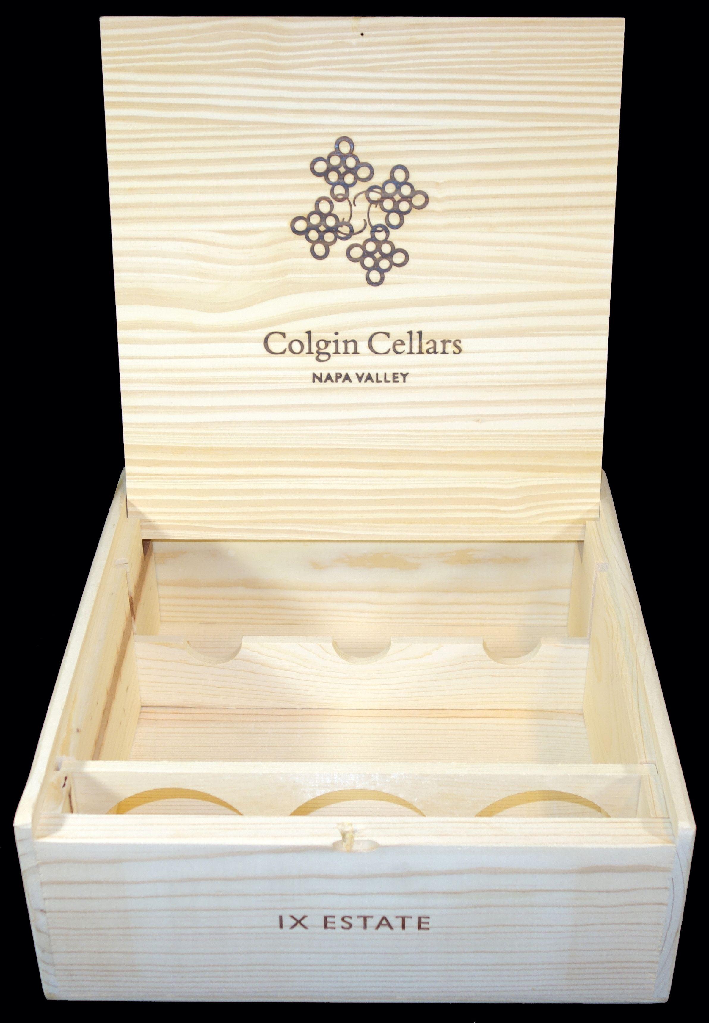 Colgin 3 Bottle Wooden Wine Case Highly Detailed Design On Front
