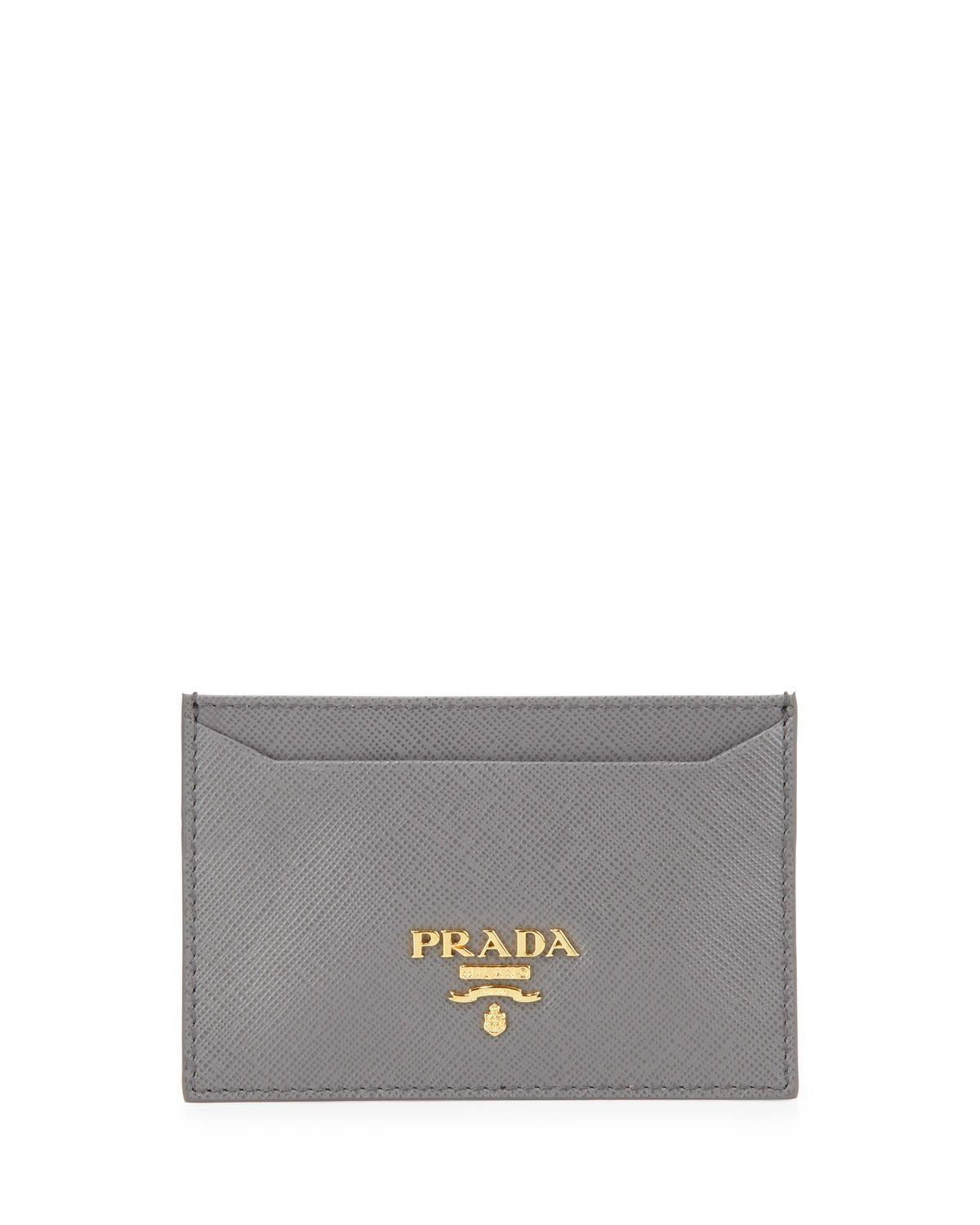 c93aaa585a65 Prada Saffiano Card Holder, Gray (Marmo), Grey | *Handbags, Wallets ...