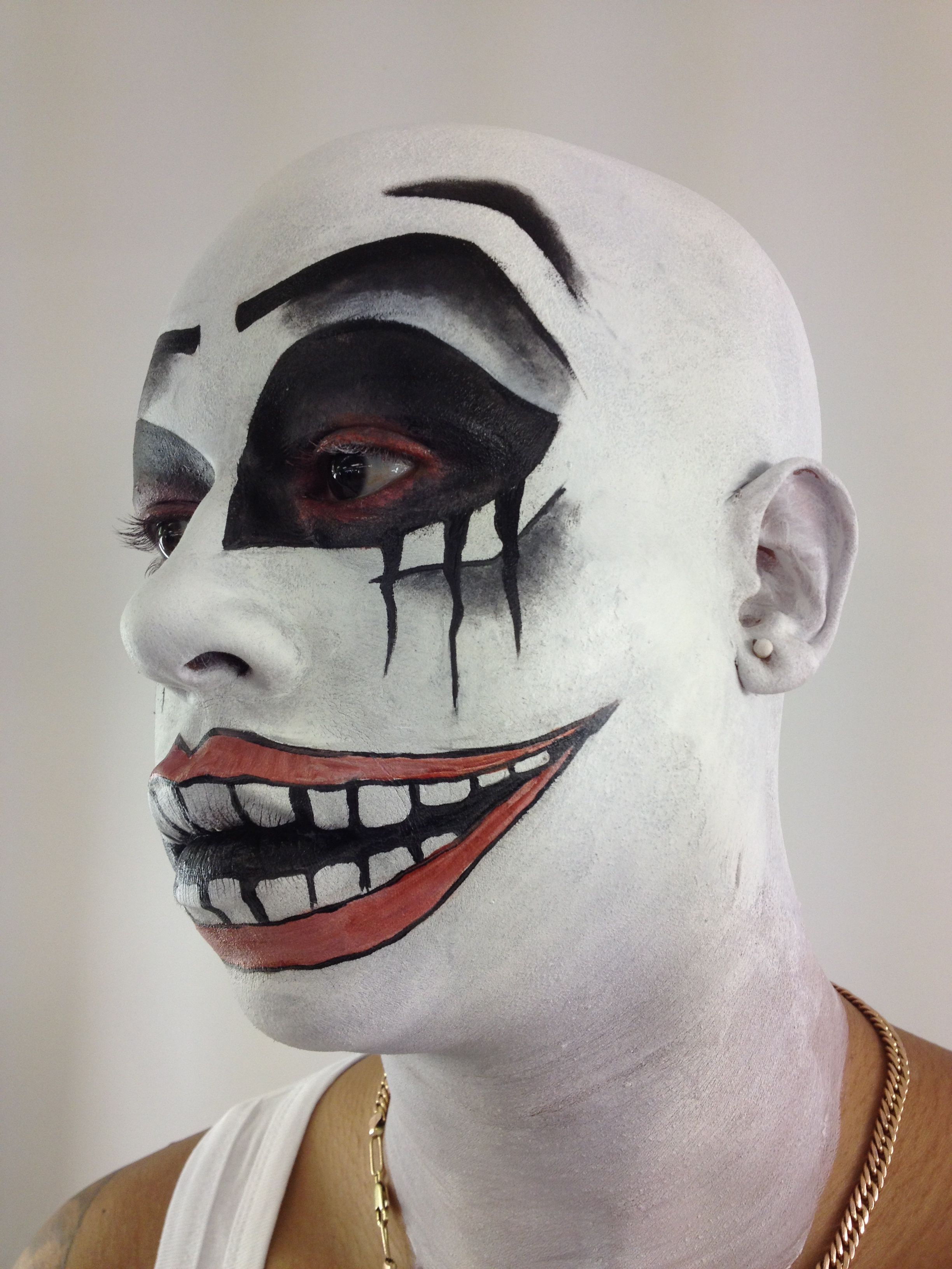 Done By Me. Bald cap and Clown Makeup project at school. Decided a ...