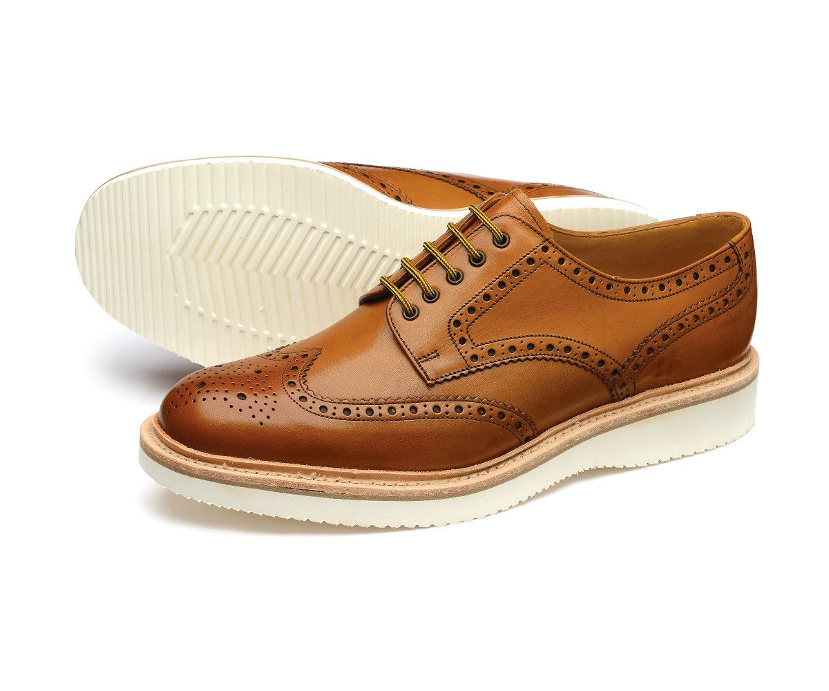 tan shoes with white soles