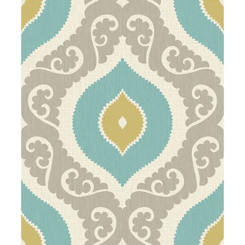 Pretty Damask Wallpaper In Lime Teal And Grey Brown