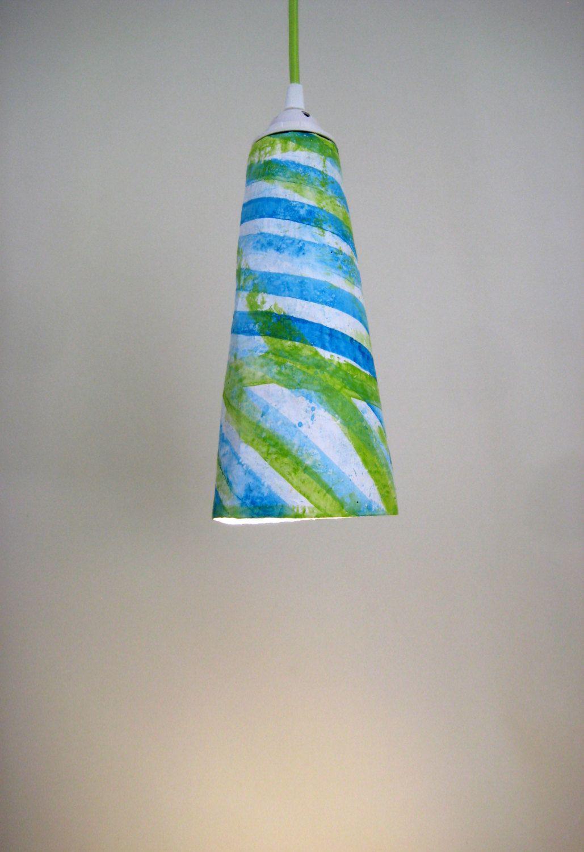 Eco friendly paper mache cone green splash plug in pendant light eco friendly paper mache cone green splash plug in pendant light hanging light paper arubaitofo Images