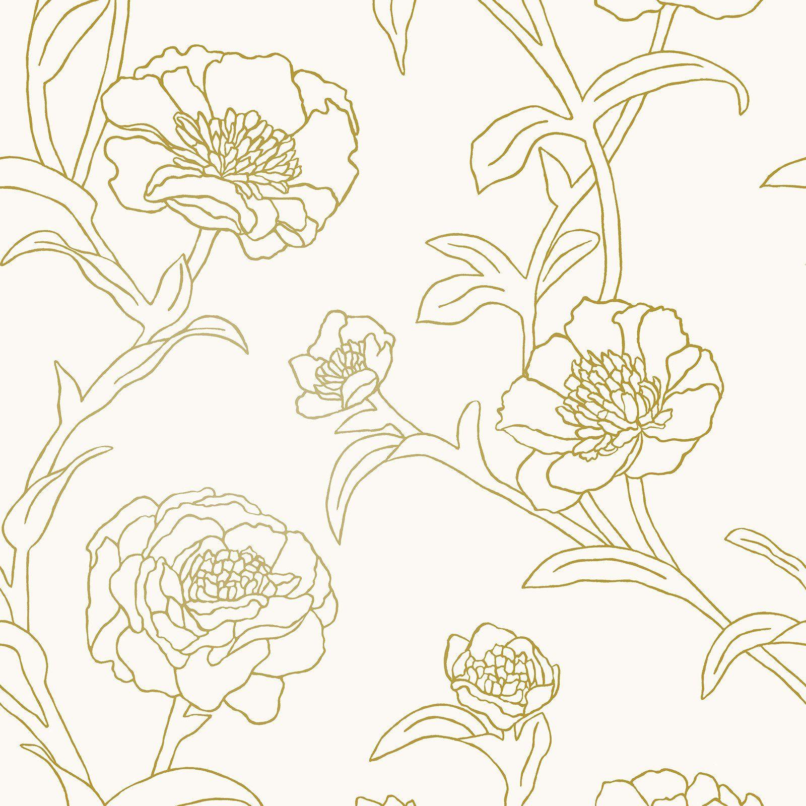 Peonies Self Adhesive Wallpaper in Gold Leaf design by Tempaper