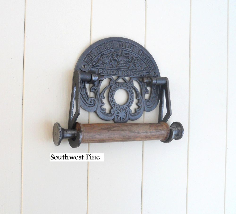 Crown Vintage Style Cast Iron Reproduction Toilet Roll Holder ...