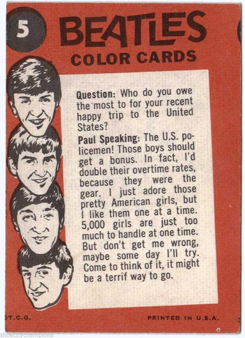 Beatles Color Card