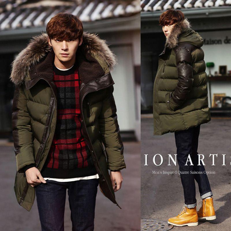 aca7f826fb866 2014 Men s Parkas Jacket Winter Jacket Men Fashion Thickening Fur Hooded  Army Green Down Jacket Mens Puffer Jacket Outwear XXL