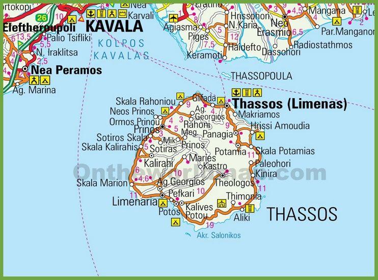 Thasos Road Map Griekenland Reizen