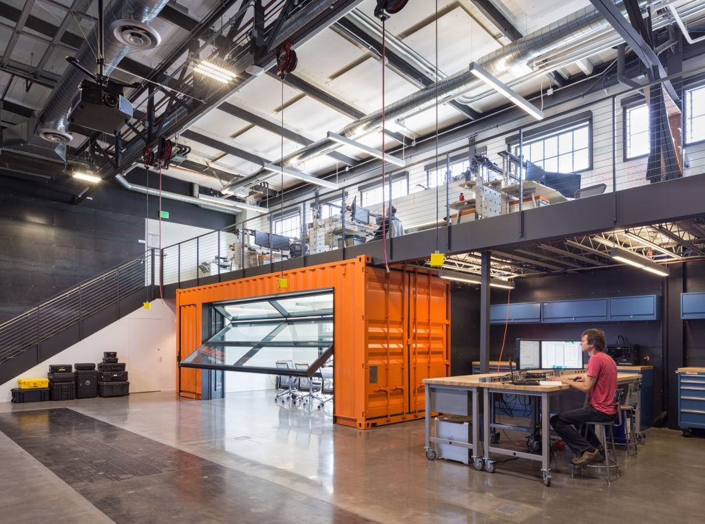 Autodesk robotics lab brainstorms in a shipping container for Brewery design software