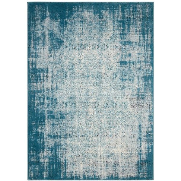 "Nourison Kismet KIS06 Ivory/Blue 2'2"" x 7'6"" Runner Rug ($109) ❤ liked on Polyvore featuring home, rugs, no color, flower area rug, floral rug, flower rug, blue floral rug and beige area rugs"