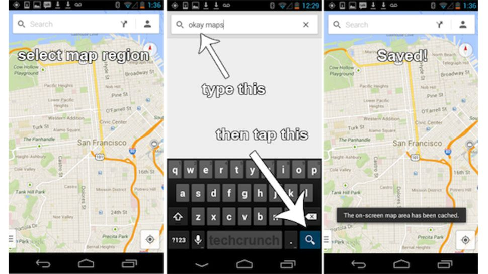 How to Cache Offline Maps in the New Google Maps for Android ... Google Map Offline Android on google sync android, google docs offline android, city maps 2go android, google chrome search, google maps android icon,