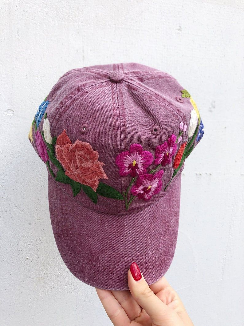 Hand Embroidered Women Hat With Floral Design Color Burgundy Baseball Cap Design Hand Embroidered Embroidered Hats Hand Embroidered Custom Embroidered Hats