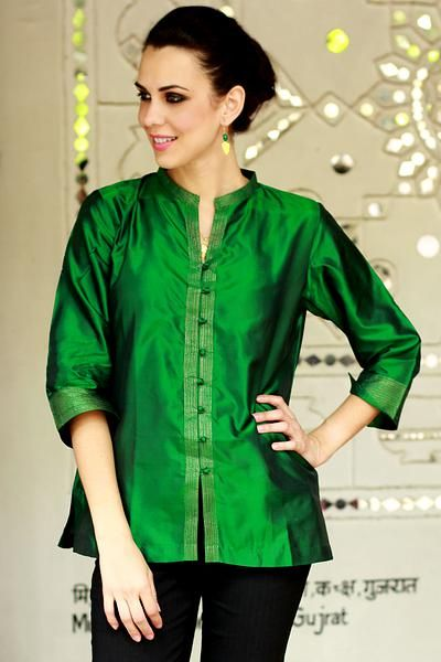 41b3d958c0bc96 Women's Embroidered Green Silk Tunic, 'Indian Emerald' in 2019 ...