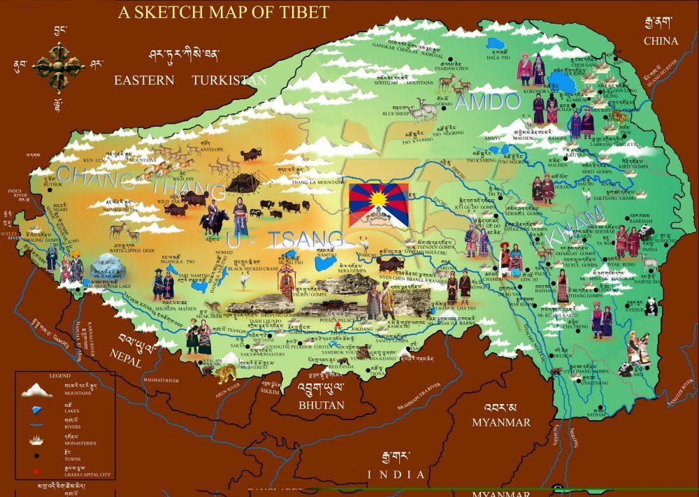 Sketch map of Tibet | Tibet