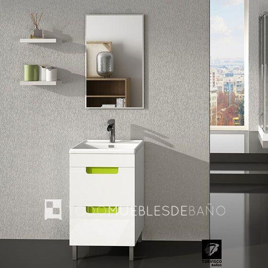 Mueble Blanco Tirador Pistacho Lavabo De Ceramica Blanco