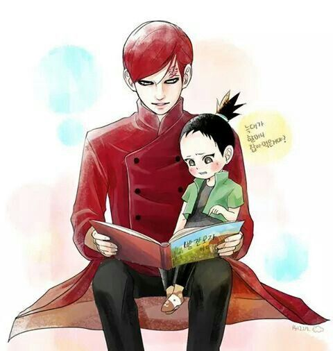 Uncle Gaara reading to Shikadai : Wish I knew what it says