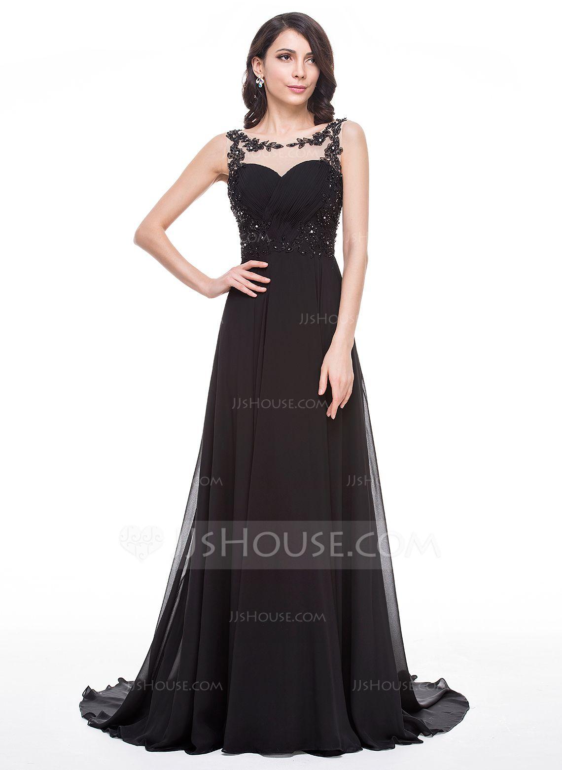 Alineprincess scoop neck court train chiffon prom dress with