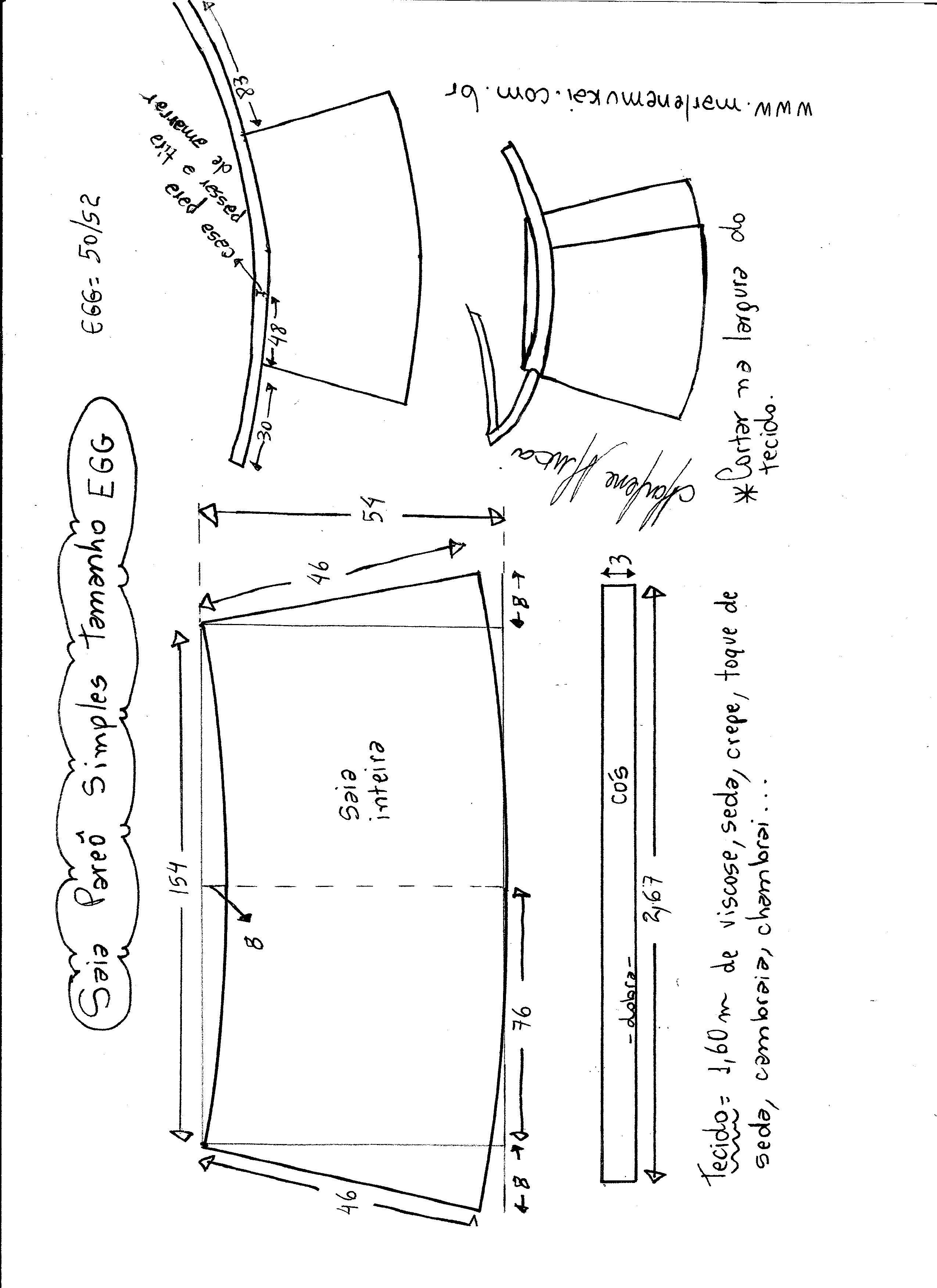 Saia envelope fácil simples | Costura, Molde y Patrones