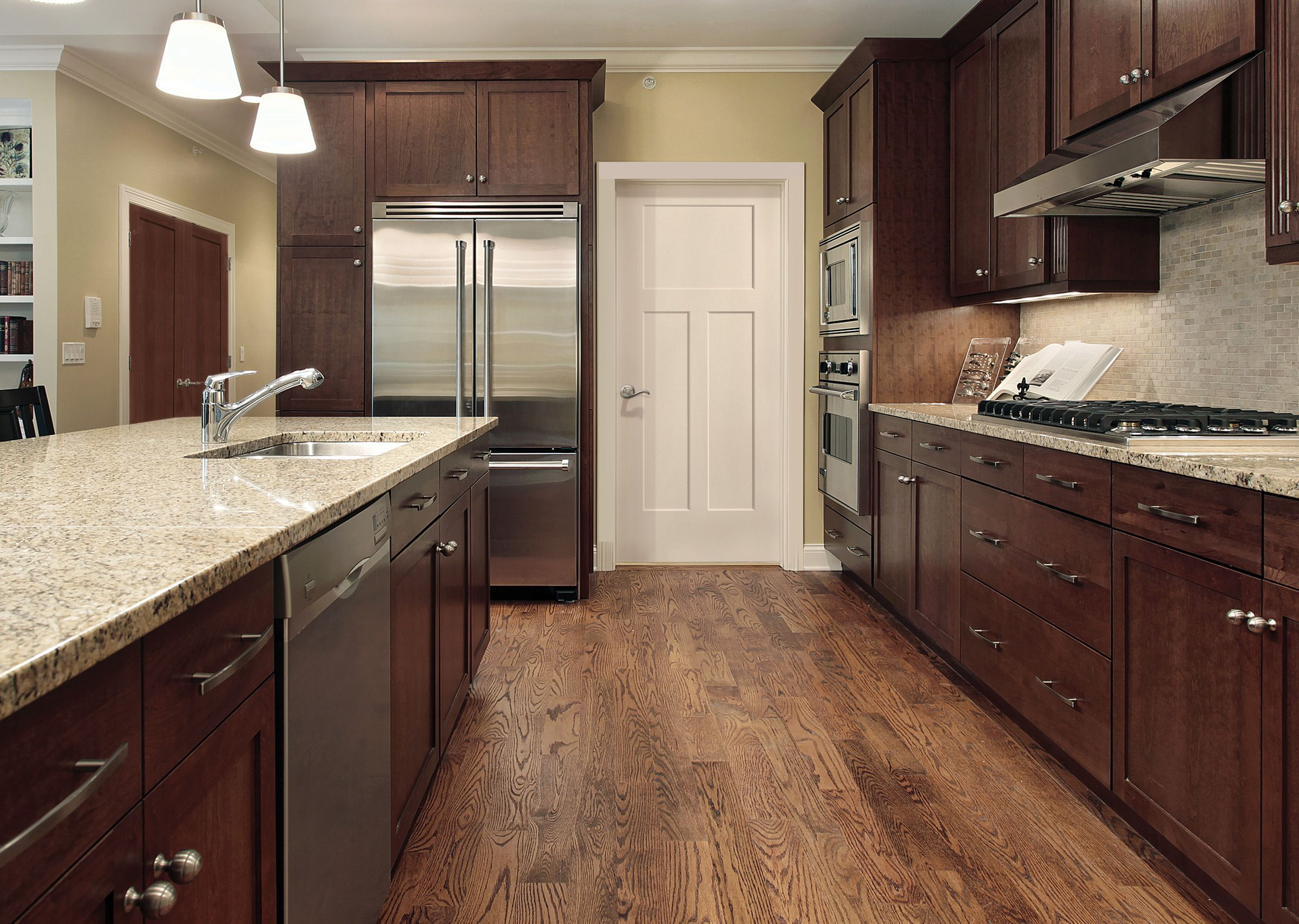 Winslow 3 Panel Shaker Molded Doors From Masonite Brown Kitchen Cabinets Wood Floor Kitchen Walnut Kitchen