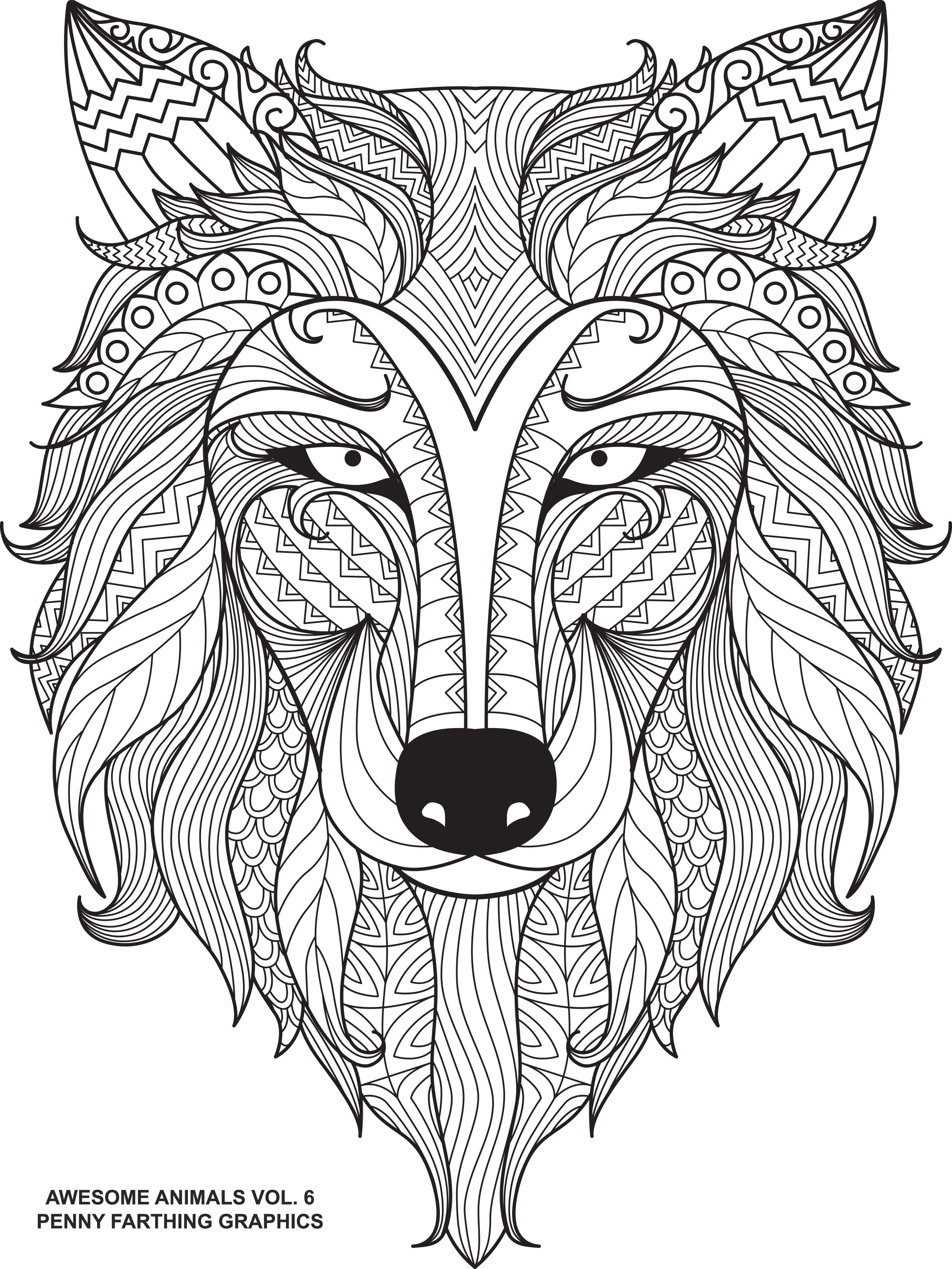 Wolf From Awesome Animals Volume 6 Doodle ColoringColoring SheetsAdult