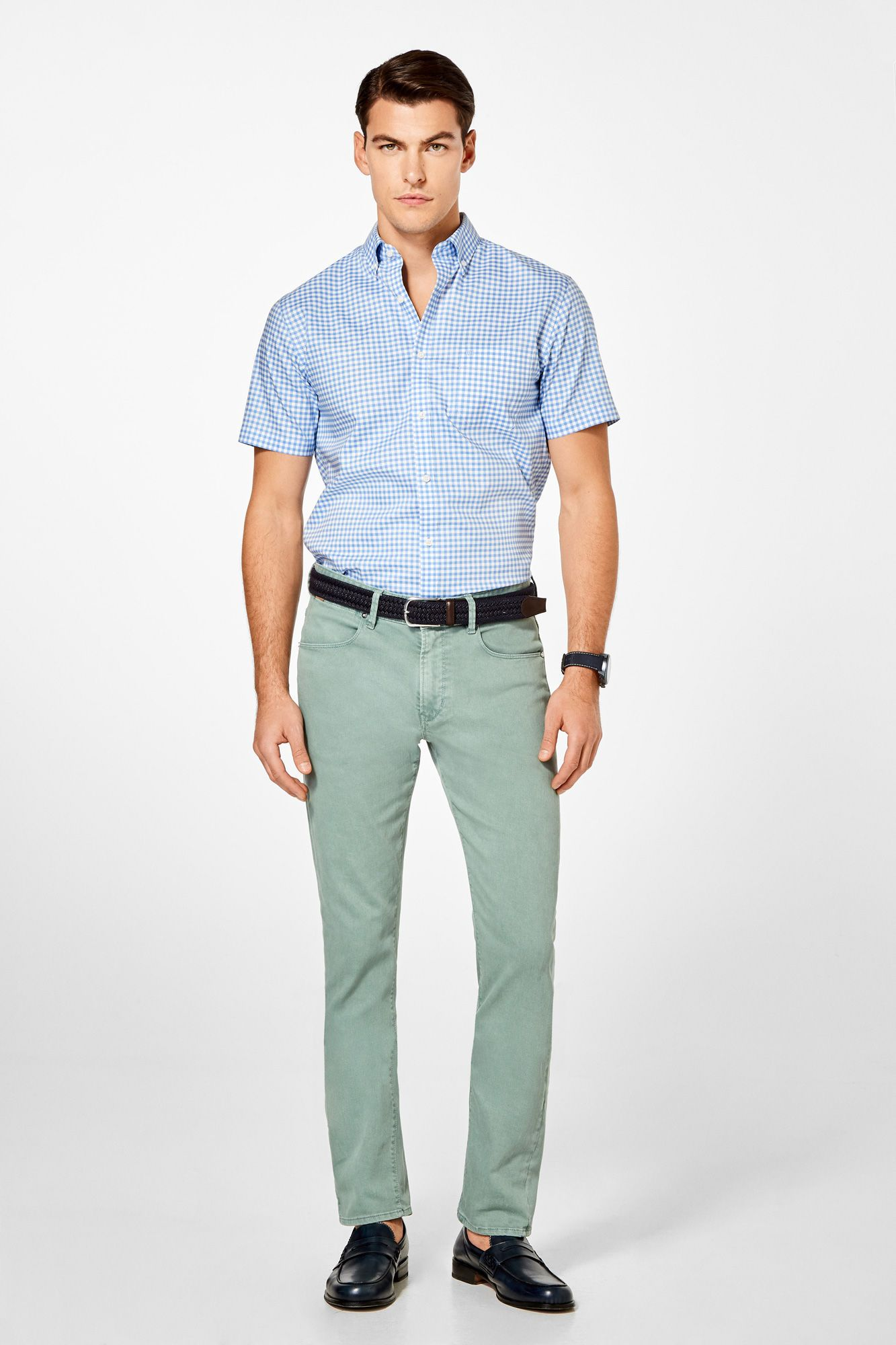 d20a3e3598 Pedro del Hierro Camisa manga corta non-iron cuadros Azul