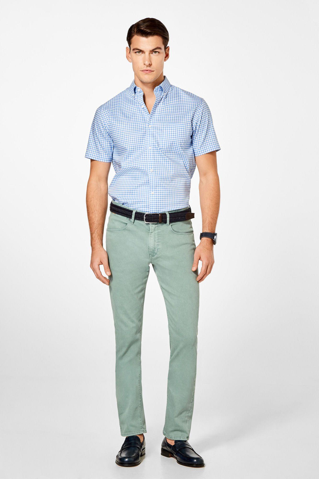 16b78cca0 Pedro del Hierro Camisa manga corta non-iron cuadros Azul