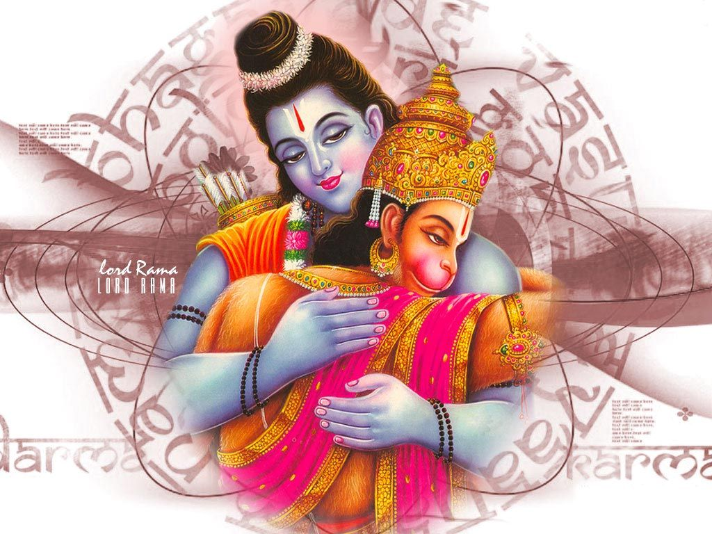 Shri Ram and Hanuman Wallpaper Free Download Lord Rama