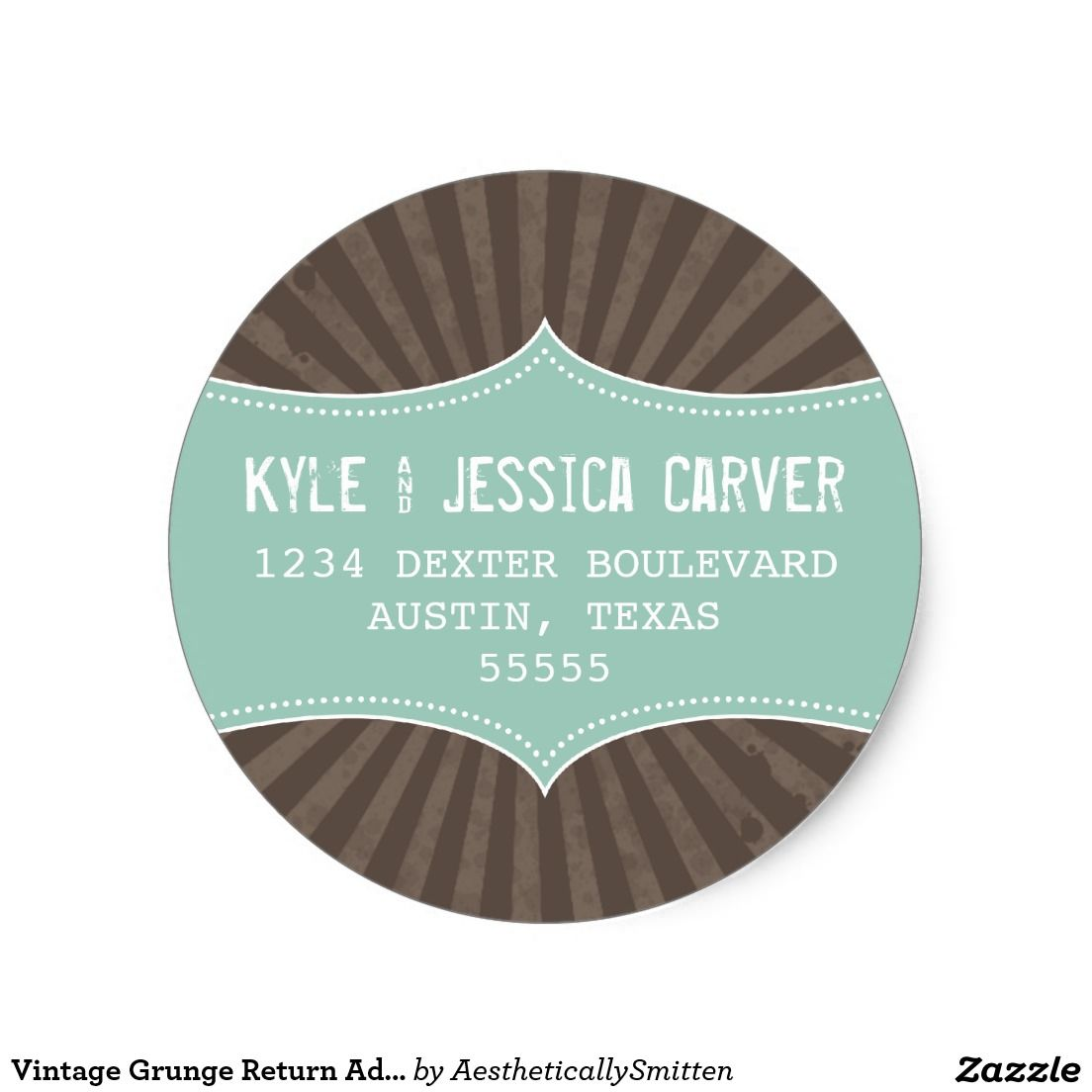 Vintage Grunge Return Address Label Template  Logo Tron