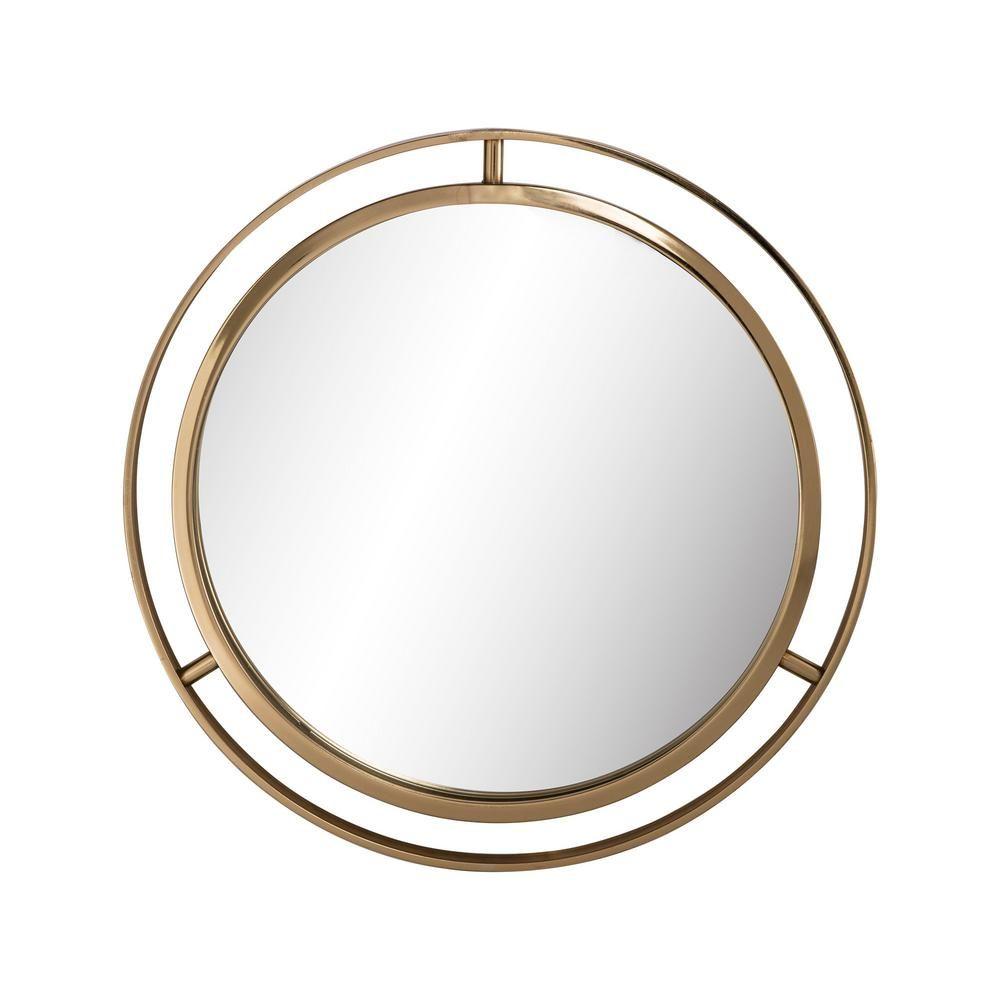 Glitzhome Small Round Gold Classic Mirror 1 38 In H X 24 02 In W 1002202640 The Home Depot Dekorasi Rumah Dekorasi