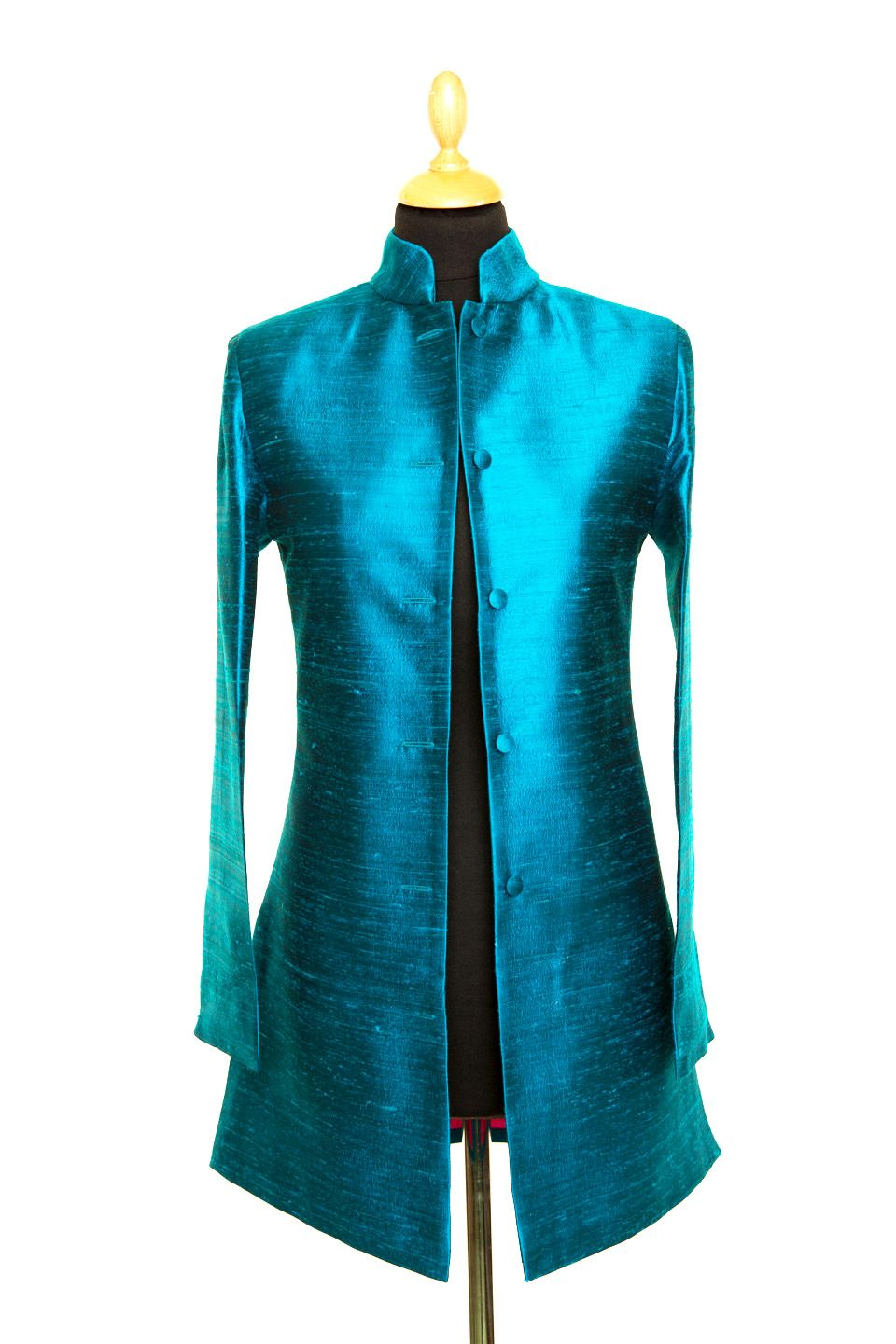 502273601f1 Silk Long Nehru Jacket in Lobelia - £265 #silk #jacket #fashion #women  #shibumi