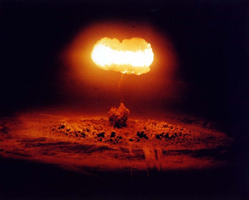 A 19-kiloton Nuclear Bomb Explodes From a Balloon  Positioned 1500 Feet Above the Ground, August 7, 1957 at 5:25 a.m. PDT  Operation Plumb-bob, STOKES Event  Nevada Test Site, Nevada, USA