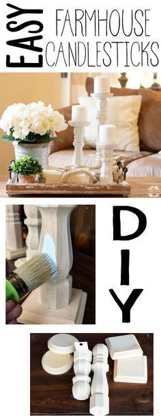 Easy DIY Farmhouse Candlesticks - This is by far one of the easiest diy projects I've done yet;  and the cheapest! Now you can have Pottery Barn style candlesticks without the Pottery Barn price. I'm actually hooked on making them!  #diy #farmhouse #homedecor #diyfarmhouse #candles