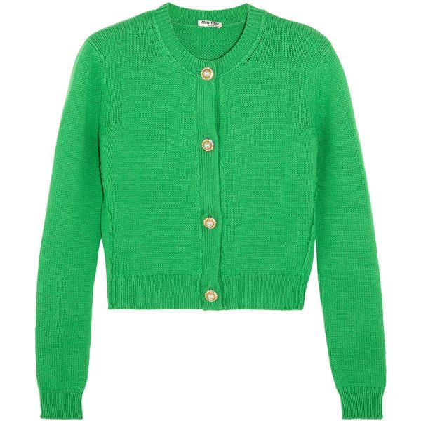Miu Miu Cropped embellished cashmere cardigan (2.195 BRL) ❤ liked on Polyvore featuring tops, cardigans, jackets, green, green cropped cardigan, embellished top, cropped cashmere cardigan, miu miu and embellished cardigan