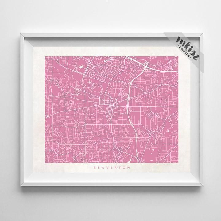 Beaverton Oregon Street Map Print Products
