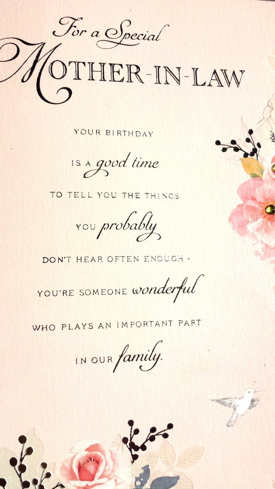 4 79 Gbp For A Special Mother In Law Lovely Design Happy Birthday Mil Gre Birthday Greetings For Mother Mother In Law Birthday Birthday Wishes For Mother