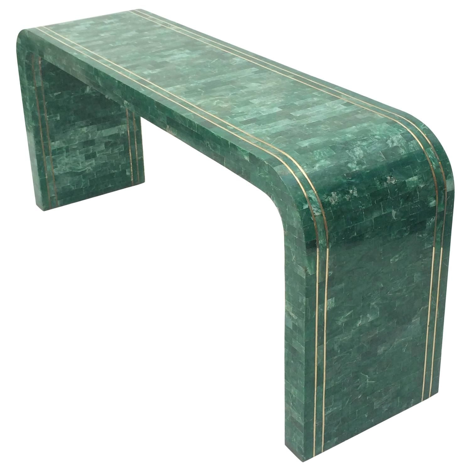 Green marble and brass waterfall console table by maitland smith green marble and brass waterfall console table by maitland smith geotapseo Images