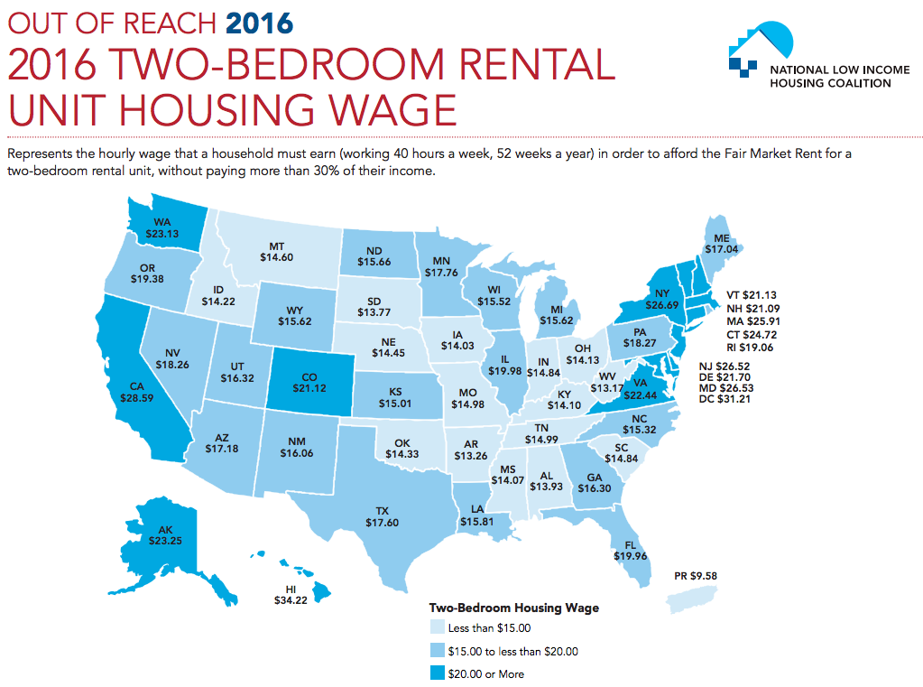 How Many States Could You Live Comfortably In At Your Current Pay Rate This Map Shows How Much You Have To Earn To Affo Minimum Wage Low Income Housing Wage