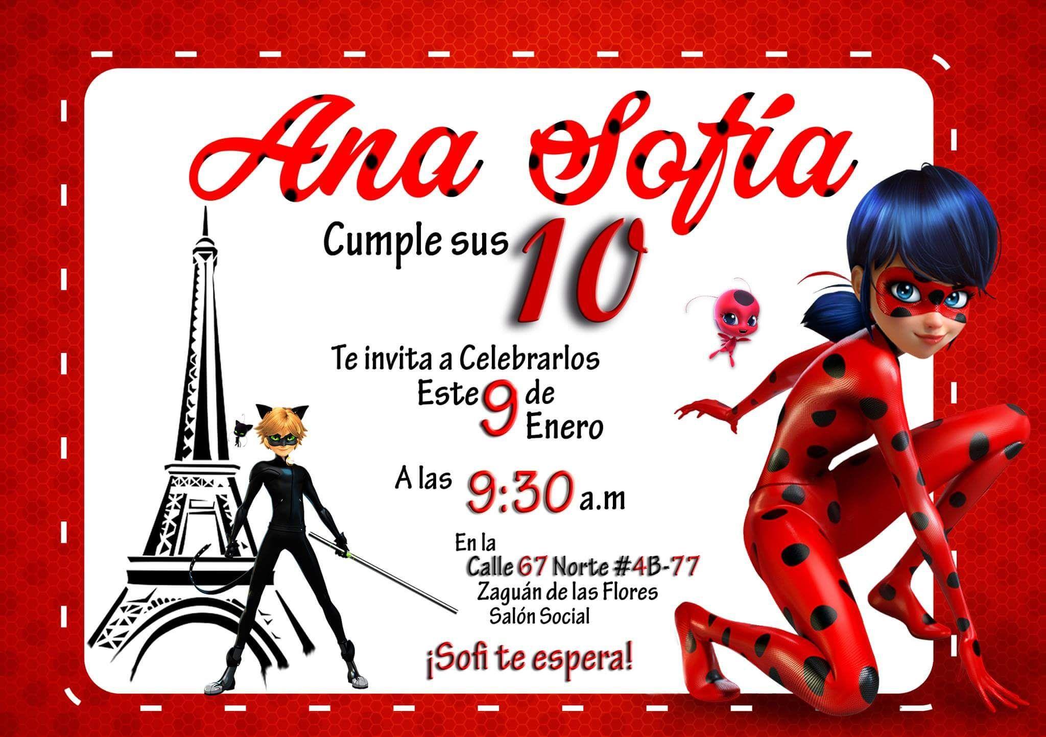 Invitación Miraculous Prodigious LadyBug Party