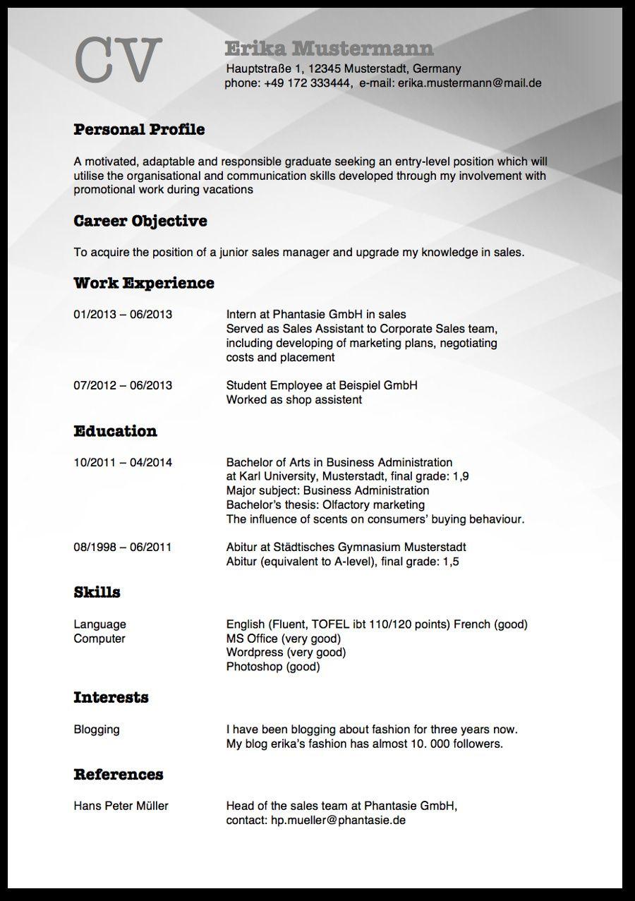 amerikanischer lebenslauf layoutlebenslauf0D Curriculum