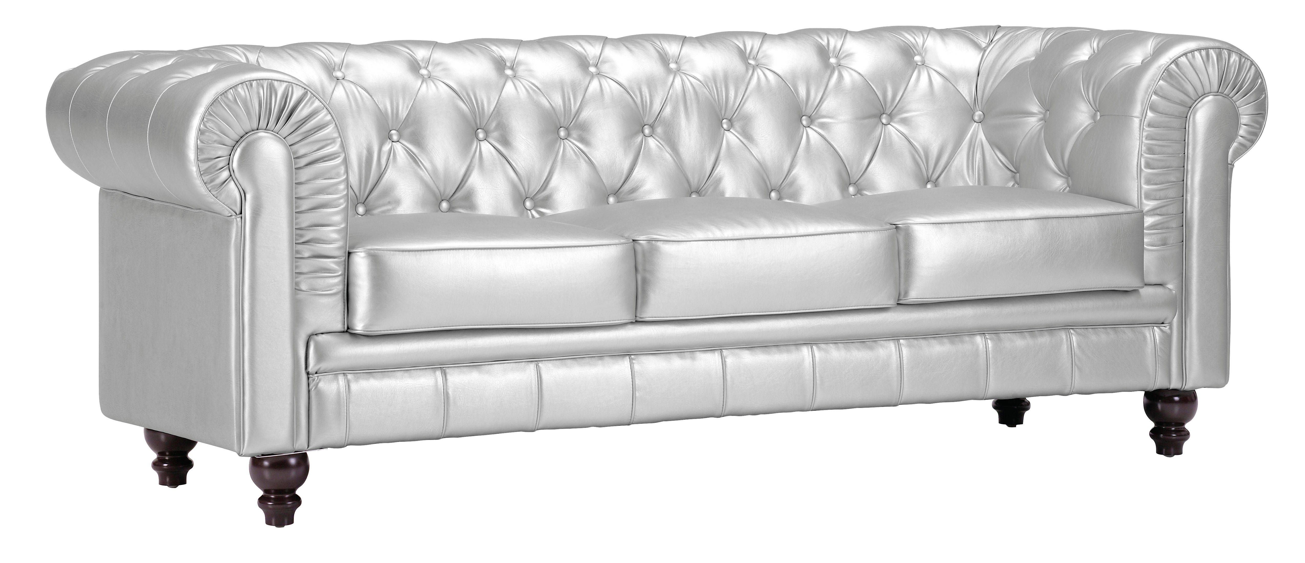 Zuo Furniture Aristocrat Silver Tufted Back Sofa