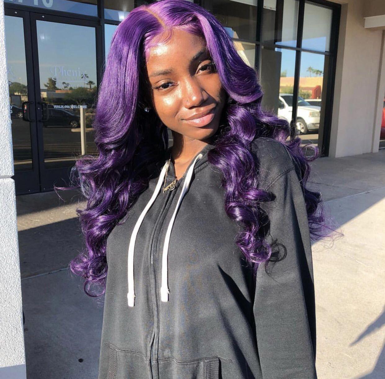 Beautiful Purple Lacefront Wig Hair Hairstylesforschool Hair