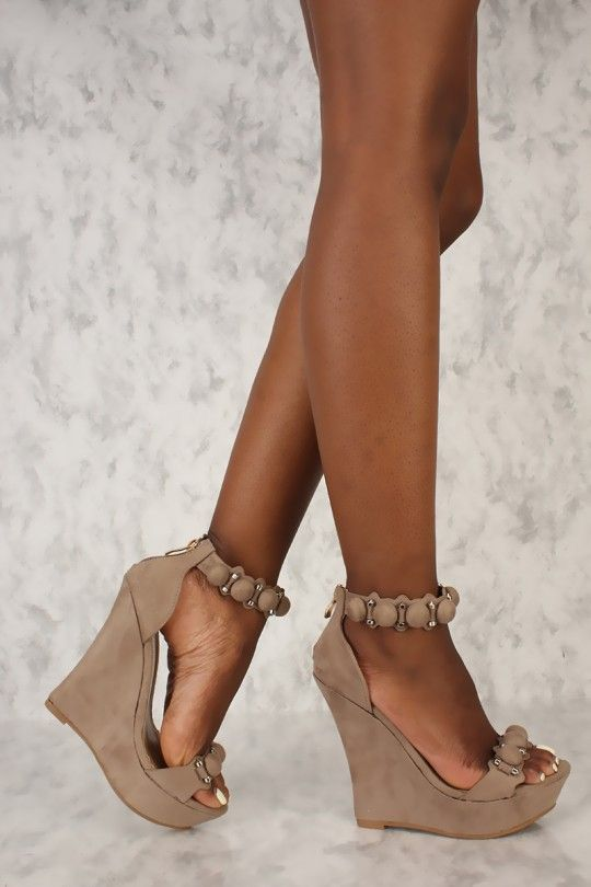 c626d33d915 Sexy Taupe Open Toe Studded Cut Out Platform Wedges Faux Suede