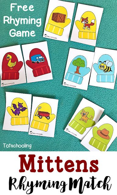 mittens rhyming match up teaching preschool rhyming activities preschool literacy. Black Bedroom Furniture Sets. Home Design Ideas