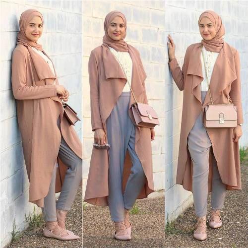 long waterfall blush cardigan hijab- Trendy hijab outfits http ...