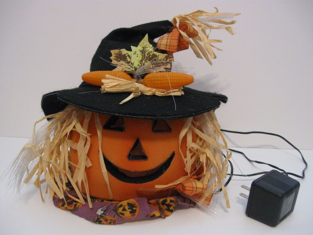 Vtg Fiber Optic Lightup Pumpkin Halloween Thksgive Jackolantern