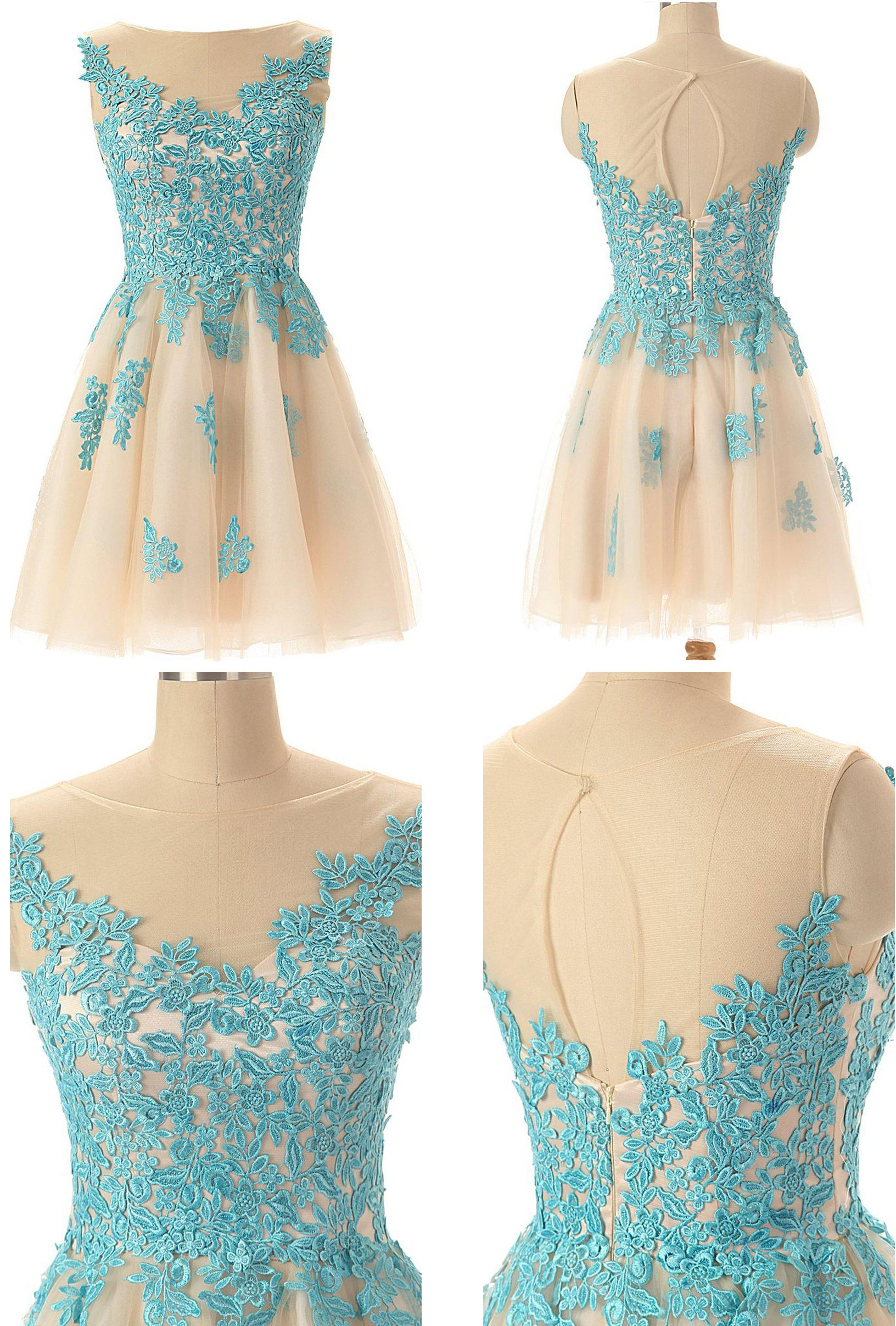 Sleeveless keyhole back short dress with lace appliques we offer
