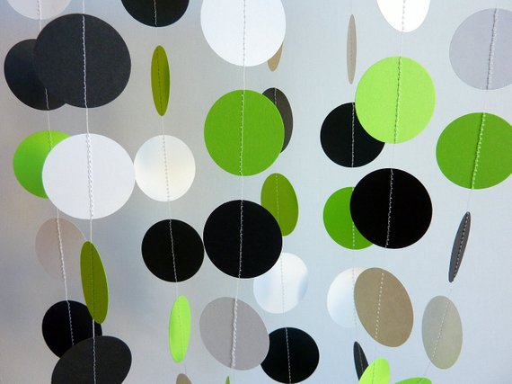 Chartreuse White Black Paper Garland Green Birthday Decorations Fathers Day Lime Weddin