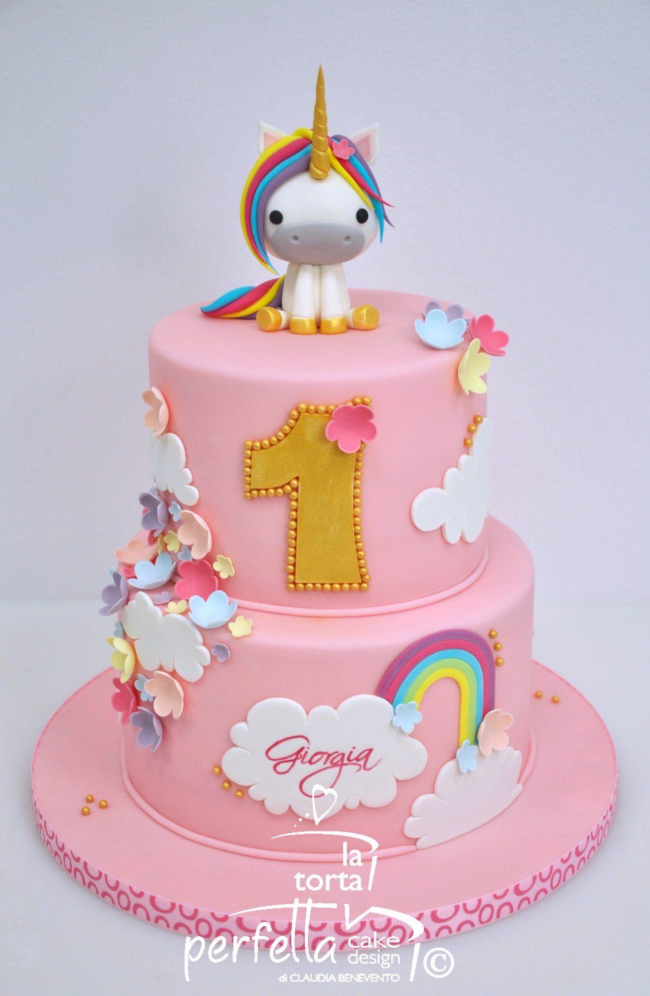 Cute First Birthday Cake With Unicorn Cake Topper Unicorn Birthday Cake Birthday Cake Kids First Birthday Cakes